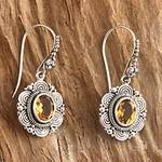 Floral Sterling Silver and Citrine Dangle Earrings, 'Balinese Sunflower'
