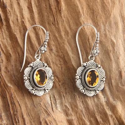 Citrine flower earrings, 'Balinese Sunflower' - Floral Sterling Silver and Citrine Dangle Earrings
