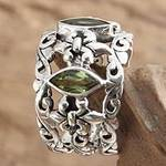 Sterling Silver and Peridot Ring from Indonesia, 'Splendor in Green'