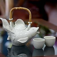 Stoneware tea set, 'White Fish Legends' (set for 2) - Stoneware tea set (Set for 2)
