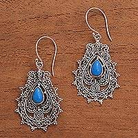 Sterling silver dangle earrings, 'Blue Lace'