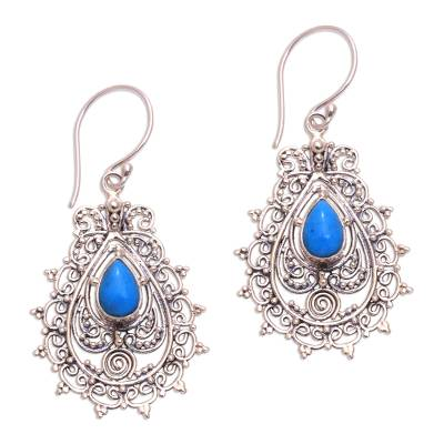 Sterling silver dangle earrings, 'Blue Lace' - Sterling Silver and Reconstituted Turquoise Earrings