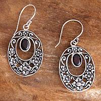 Garnet floral earrings, 'Bali Bouquet' - Handcrafted Floral Garnet Sterling Silver Earrings