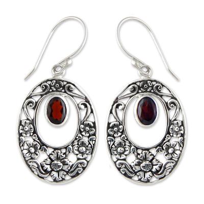 Garnet floral earrings, 'Bali Bouquet' - Handcrafted Floral Garnet Sterling Silver Earrings