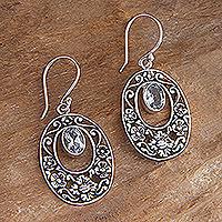 Blue topaz floral earrings, 'Bali Bouquet'