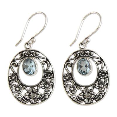 Blue topaz floral earrings, 'Bali Bouquet' - Blue topaz floral earrings