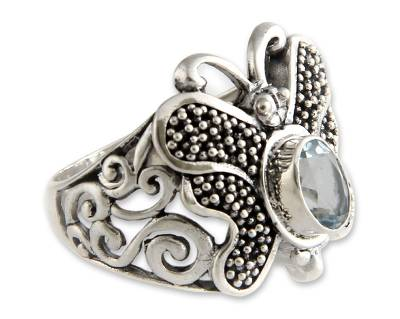 Unique Sterling Silver and Blue Topaz Cocktail Ring