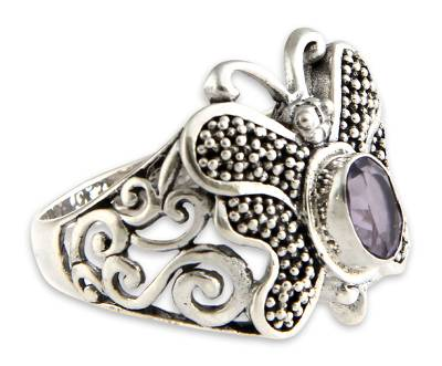 Amethyst cocktail ring, 'Butterfly Soul' - Amethyst cocktail ring