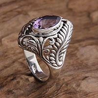 Amethyst single stone ring, 'Joyous Jungle' - Amethyst single stone ring