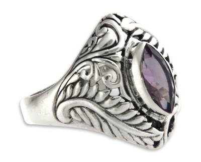 Amethyst single stone ring, 'Joyous Jungle' - Amethyst single stone ring