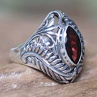 Garnet single stone ring, 'Joyous Jungle' - Hand Made Sterling Silver and Garnet Ring