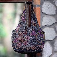 Beaded cotton sling bag, 'Javanese Violets' - Beaded cotton sling bag