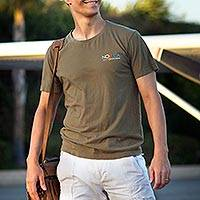 Men's cotton t-shirt, 'Mission Novica in Khaki' - Men's Fair Trade Cotton Logo Tee