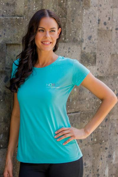 Women's cotton t-shirt, 'Mission NOVICA in Tosca Blue' - Women's Fair Trade Cotton Logo Tee
