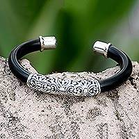 Sterling silver floral cuff bracelet, 'Magnificent Bali'