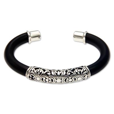 Sterling silver floral cuff bracelet, 'Magnificent Bali' - Floral Sterling Silver Cuff Bracelet