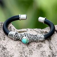 Sterling silver cuff bracelet, 'Green Moon'