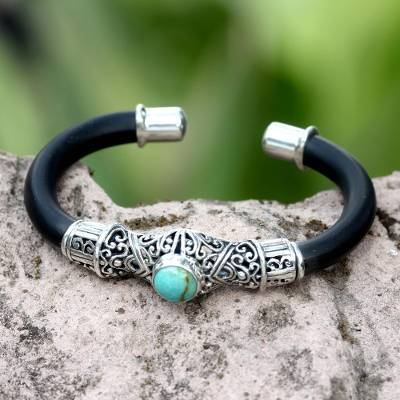 Sterling silver cuff bracelet, Green Moon