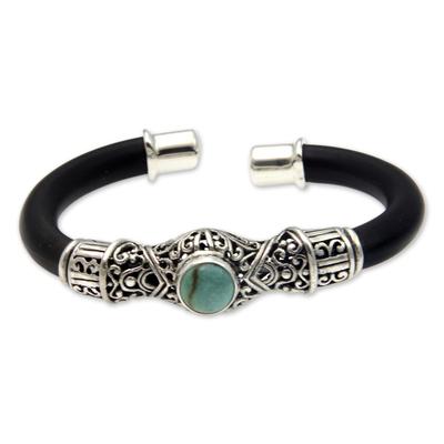 Sterling silver cuff bracelet, 'Green Moon' - Sterling silver cuff bracelet