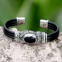 Onyx cuff bracelet, 'Royal Splendor'