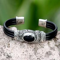 Onyx cuff bracelet, 'Royal Splendor' - Sterling Silver and Onyx Cuff Bracelet
