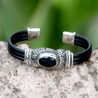 Onyx cuff bracelet, 'Royal Splendor' - Sterling Silver and Onyx Cuff Bracelet