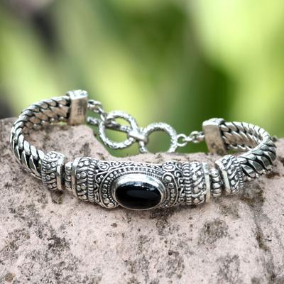 Men's onyx bracelet, 'Royal Bali' - Men's Handmade Sterling Silver and Onyx Bracelet