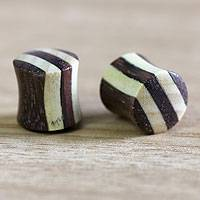 Teak ear plugs, 'Natural Harlequin' - Teak ear plugs