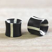 Wood ear plugs, 'Starlight Duality' - Wood ear plugs