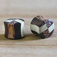 Wood ear plugs, 'Eco Contrasts' - Artisan Crafted Wood Ear Plugs