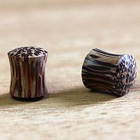 Wood ear plugs, 'Leopard' - Wood ear plugs