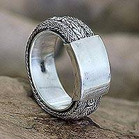 Men's sterling silver ring, 'Borobudur Dragon'
