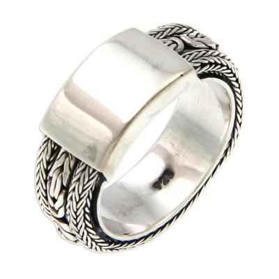 Men's sterling silver ring, 'Borobudur Dragon' - Men's Sterling Silver Band Ring