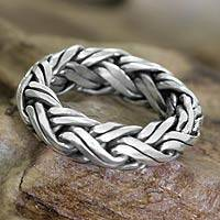 Men's sterling silver ring, 'Gallant' - Men's Indonesian Sterling Silver Braided Band Ring