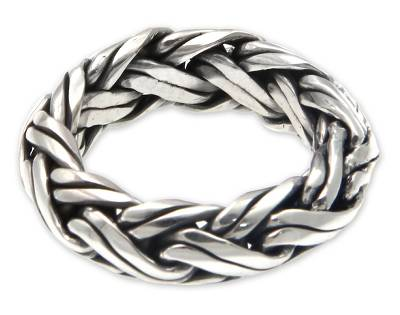 Men's sterling silver ring, 'Gallant' - Men's Indonesian Sterling Silver Ring