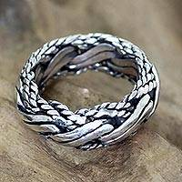 Men's sterling silver ring, 'Reptilian' - Handcrafted silver ring for men
