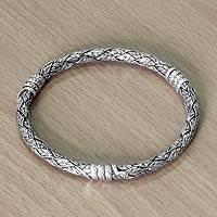 Sterling silver bangle bracelet, 'Intuitive Snakes' - Fair Trade Indonesian Sterling Silver Bangle Bracelet
