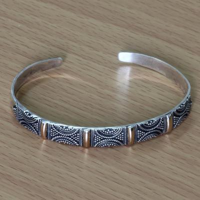 Gold accent cuff bracelet, 'Bali Fiesta' - Unique Gold Accent and Sivler Cuff Bracelet from Indonesia
