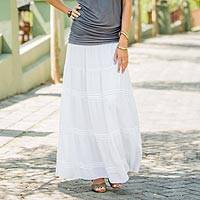 Long peasant skirt, 'Tropical White' - Hand Crafted Peasant Skirt from Indonesia
