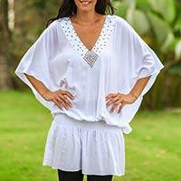 Butterfly sleeve tunic, 'Divine Feminine in White' - Modern Butterfly Sleeve Tunic Top