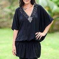 Butterfly sleeve tunic, 'Divine Feminine in Black' - Hand Crafted Butterfly Sleeve Knit Tunic
