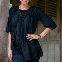 Pin tuck long tunic, 'Sheer Java Night' - Fair Trade Indonesian Pin Tuck Tunic