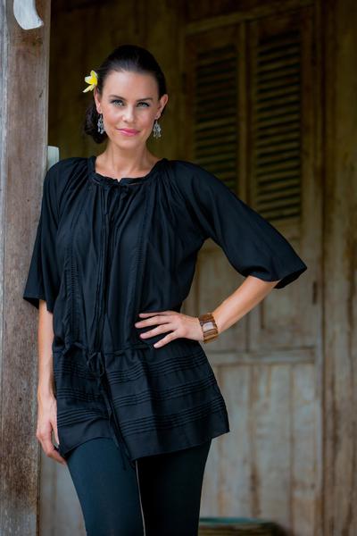 Pin tuck long tunic, 'Sheer Java Night' - Fair Trade Indonesian Pin Tuck Tunic