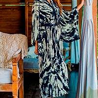 Tie-dyed rayon robe, 'High Energy' - Women's Kimono Style Tie-dye Robe on Blue and Cream