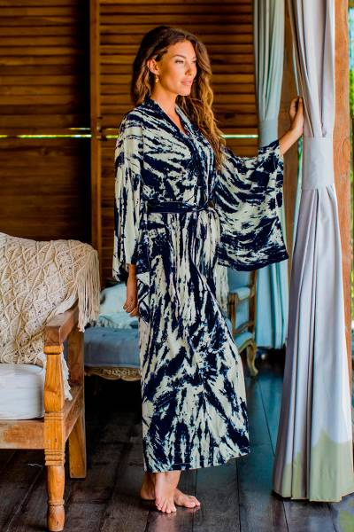 6147352db4 Women s Kimono Style Tie-dye Robe on Blue and Cream - High Energy ...