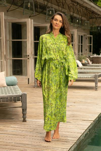Batik robe, 'Emerald Forest' - Hand Made Green Batik Robe