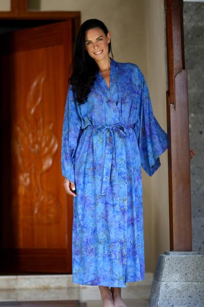 Batik robe, 'Blue Anemone' - Floral Patterned Robe