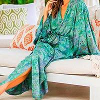 Batik robe, 'Misty Javanese Forest' - Artisan Crafted Women's Batik Robe
