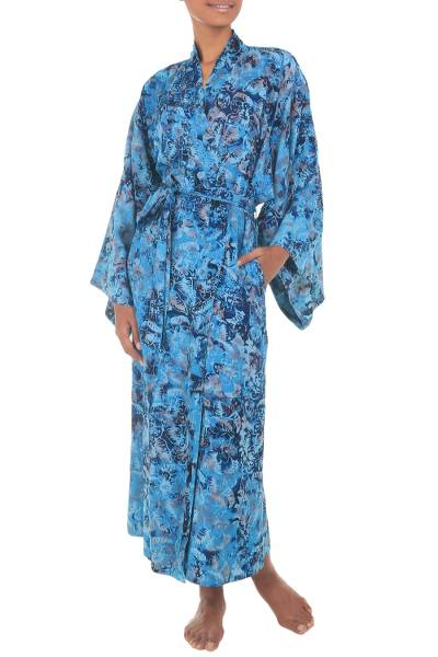 Batik robe, 'Sapphire Dreams' - Batik Patterned Robe