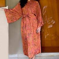 Batik robe, 'Autumn Joy' - Batik robe